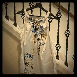 WHBM dress tank. Silver with blues and brown.